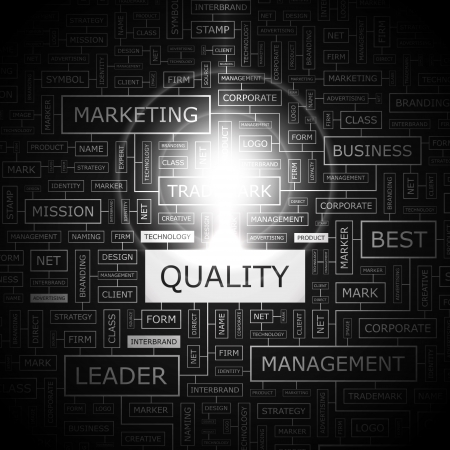quality service: QUALITY  Word cloud concept illustration