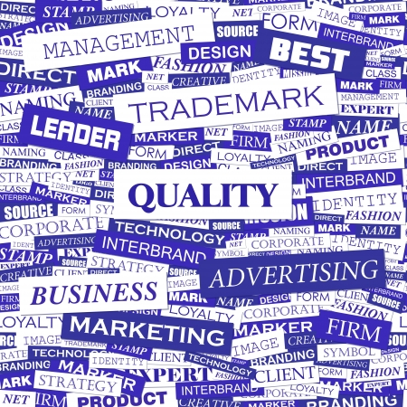 QUALITY  Word cloud concept illustration  Vector
