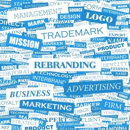 brand new: REBRANDING  Word cloud concept illustration