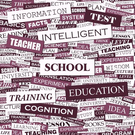 SCHOOL  Word cloud illustration  Tag cloud concept collage  Vector illustration  Vector