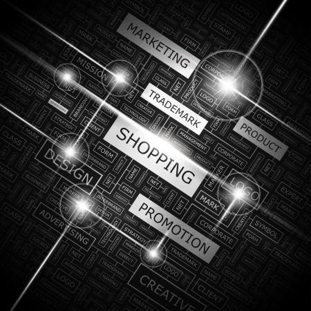 e new: SHOPPING  Word cloud concept illustration    Illustration