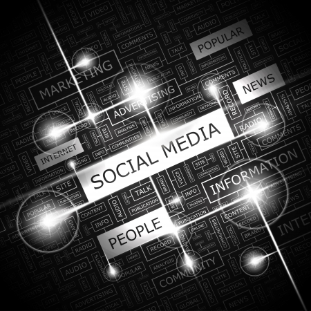 technology collage: SOCIAL MEDIA  Word cloud concept illustration    Illustration