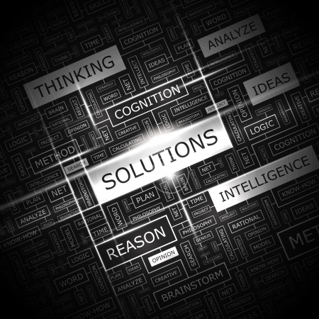 word collage: SOLUTIONS  Word cloud illustration  Tag cloud concept collage  Vector illustration