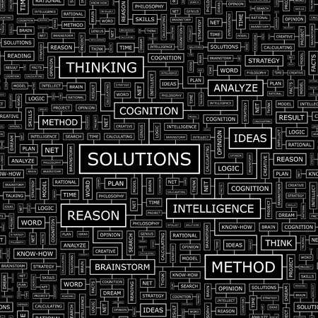 related: SOLUTIONS  Concept vector illustration  Word cloud with related tags and terms  Graphic tag collection  Wordcloud collage  Illustration