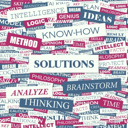 SOLUTIONS  Word cloud concept illustration    Vector