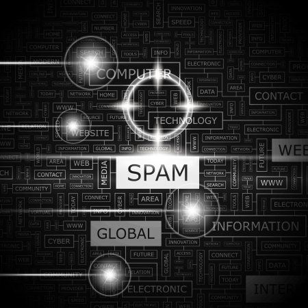 SPAM  Word cloud concept illustration Stock Vector - 20309713