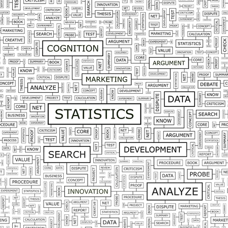 STATISTICS  Word cloud concept illustration    Vector