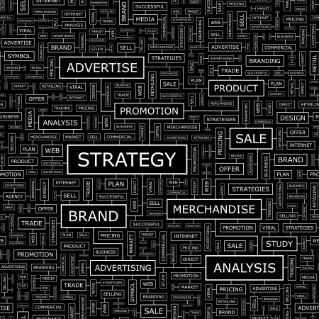 STRATEGY  Word cloud concept illustration  Vector