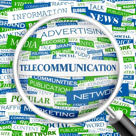 TELECOMMUNICATION  Word cloud concept illustration    Vector