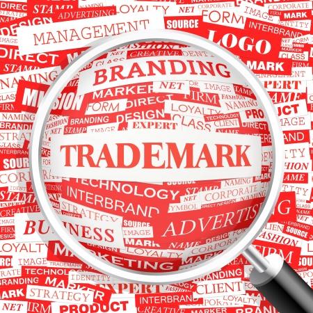 trademark: MARCA Palabra nube concepto ejemplo Vectores