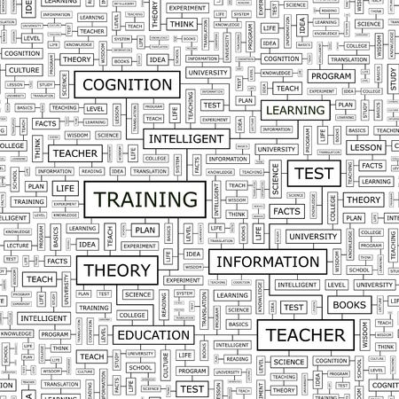 TRAINING  Word cloud concept illustration  Vector