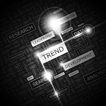 TREND  Word cloud concept illustration  Vector