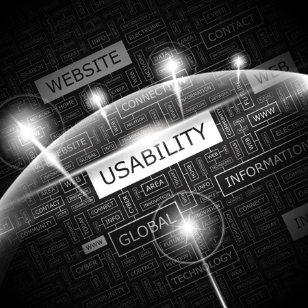 usability: USABILITY  Word cloud illustration  Tag cloud concept collage  Vector illustration