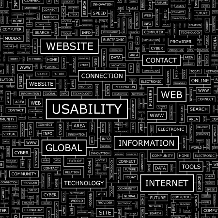 USABILITY  Word cloud concept illustration  Vector