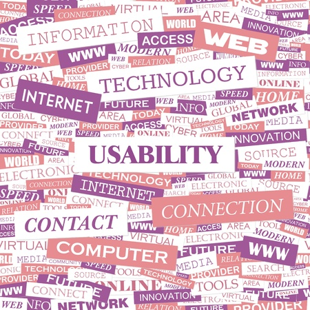 usability: USABILITY  Word cloud illustration  Tag cloud concept collage  Vector text illustration  Illustration