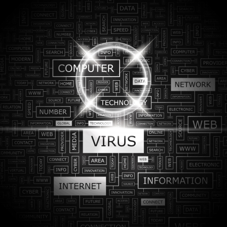 VIRUS  Word cloud concept illustration  Vector