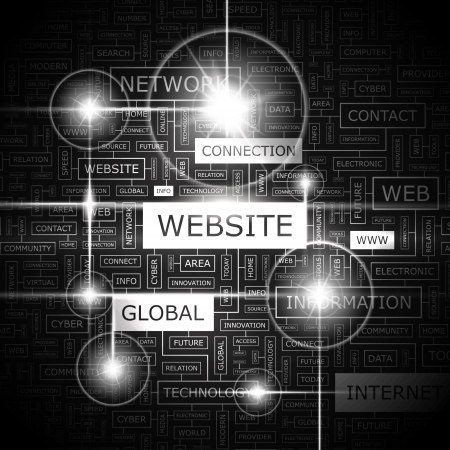 online marketing: WEBSITE  Word cloud concept illustration  Illustration