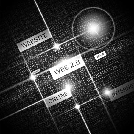 WEB 2 0  Word cloud concept illustration