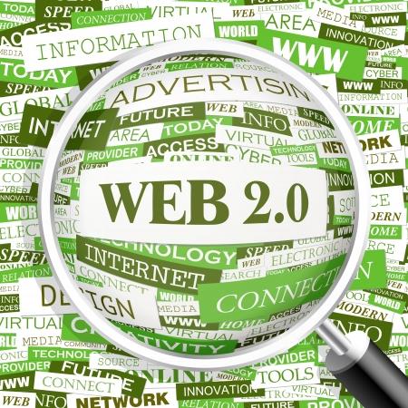 web 2 0: WEB 2 0  Word cloud concept illustration  Wordcloud collage  Vector illustration