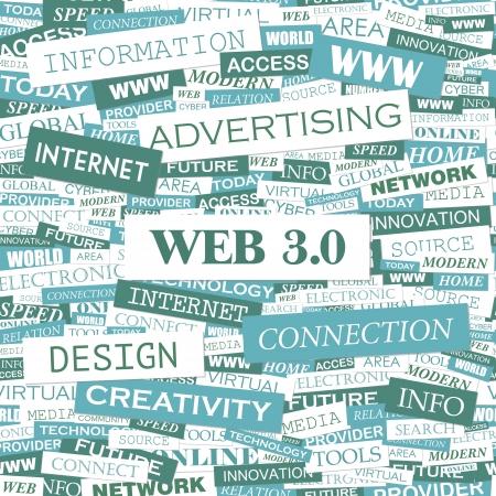 WEB 3 0  Word cloud concept illustration Stock Vector - 20221622