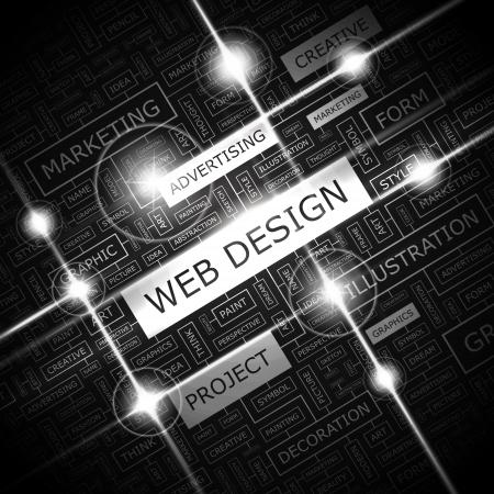 WEB DESIGN Achtergrond concept wordcloud illustratie Print begrip woordwolk Grafische collage Vector illustratie Stock Illustratie