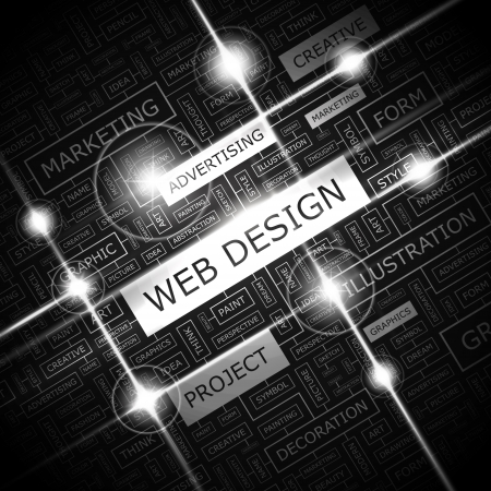 WEB DESIGN Sfondo concetto illustrazione wordcloud Stampa nube concetto di parola collage di grafica vettoriale illustrazione Archivio Fotografico - 25425547