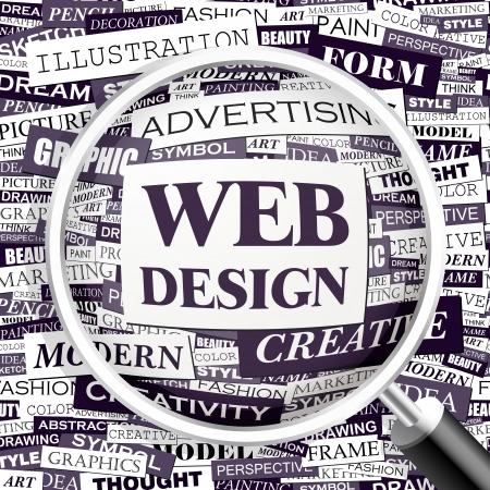 WEB DESIGN  Word cloud illustration  Tag cloud concept collage  Vector illustration