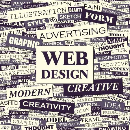 디자인: 웹 디자인 워드 구름 개념 그림