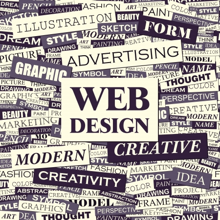 WEB DESIGN Word Cloud Konzept Illustration Standard-Bild - 20221669
