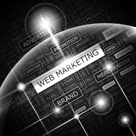 WEB MARKETING  Word cloud concept illustration  Vector