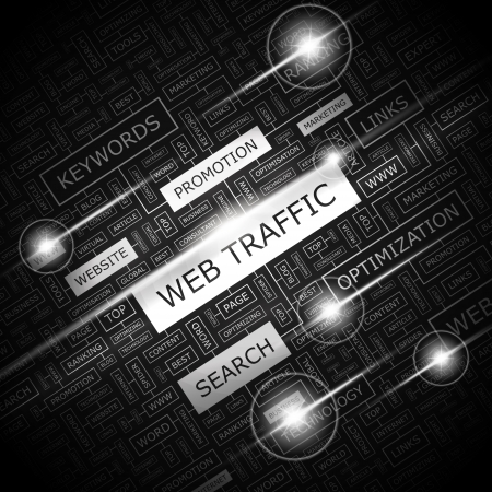 popularity: WEB TRAFFIC  Word cloud illustration  Tag cloud concept collage  Vector illustration