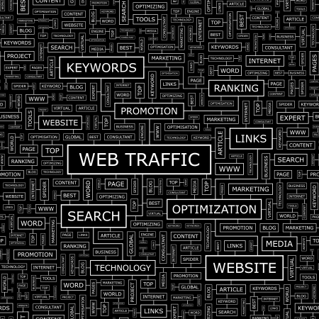 conception: WEB TRAFFIC  Word cloud concept illustration