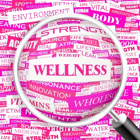 WELLNESS  Word cloud illustration  Tag cloud concept collage  Vector text illustration   イラスト・ベクター素材