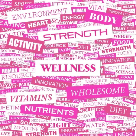 WELLNESS  Word cloud concept illustration  Vector