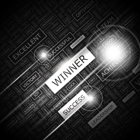 first prize: WINNER  Word cloud concept illustration