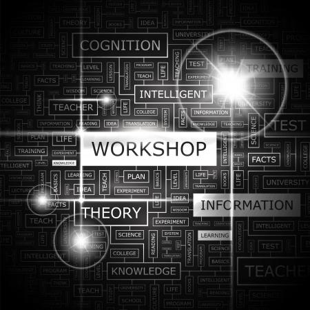 WORKSHOP  Word cloud concept illustration    Vector