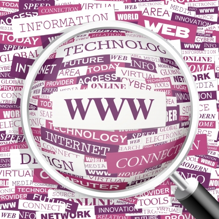 WWW  Word cloud illustration  Tag cloud concept collage  Vector text illustration  Illustration