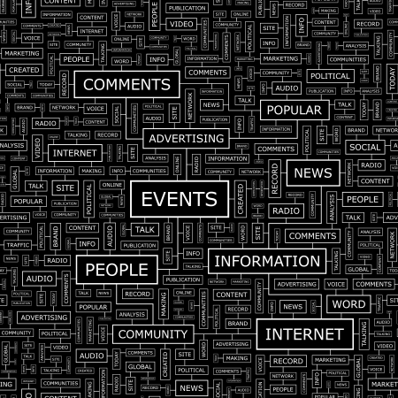 current events: EVENTS  Word cloud concept illustration  Wordcloud collage  Vector illustration