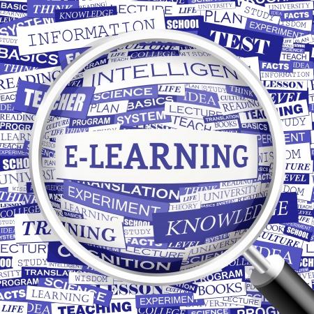 corsi di formazione: E-LEARNING Word cloud concetto illustrazione Vettoriali
