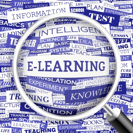 afstand: E-LEARNING Word wolk concept illustratie Stock Illustratie