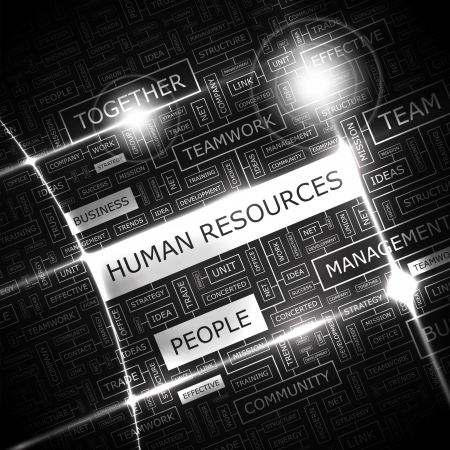 resources: HUMAN RESOURCES  Word cloud concept illustration