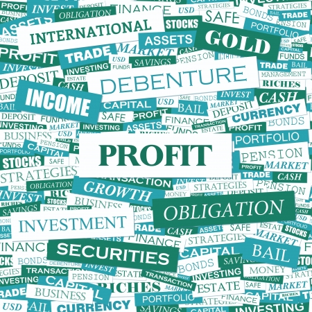 style wealth: PROFIT  Word cloud illustration  Tag cloud concept collage  Vector illustration