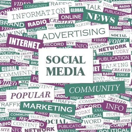 SOCIAL MEDIA  Word cloud illustration  Tag cloud concept collage  Vector illustration  Vector