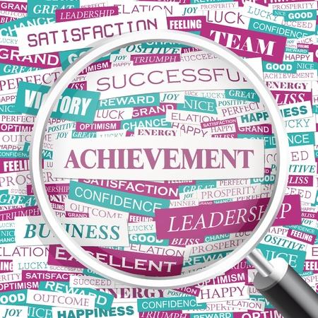 achieve goal: ACHIEVEMENT  Word cloud concept illustration  Wordcloud collage  Vector illustration