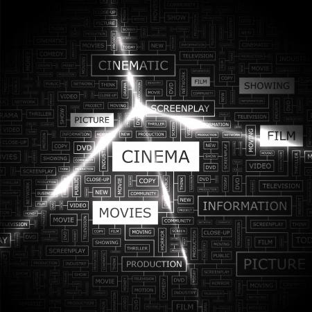 CINEMA  Word cloud concept illustration  Vector