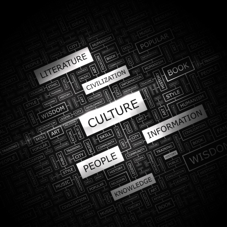 CULTURE  Word cloud concept illustration  Vector