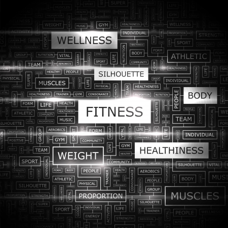 FITNESS  Word cloud concept illustration  Çizim