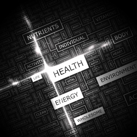 health and fitness: HEALTH  Background concept wordcloud illustration  Print concept word cloud  Graphic collage with related tags and terms  Vector illustration
