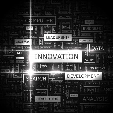 product innovation: INNOVATION  Word cloud concept illustration