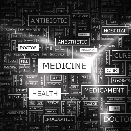 clinical research: MEDICINE  Word cloud concept illustration  Wordcloud collage  Vector illustration  Illustration